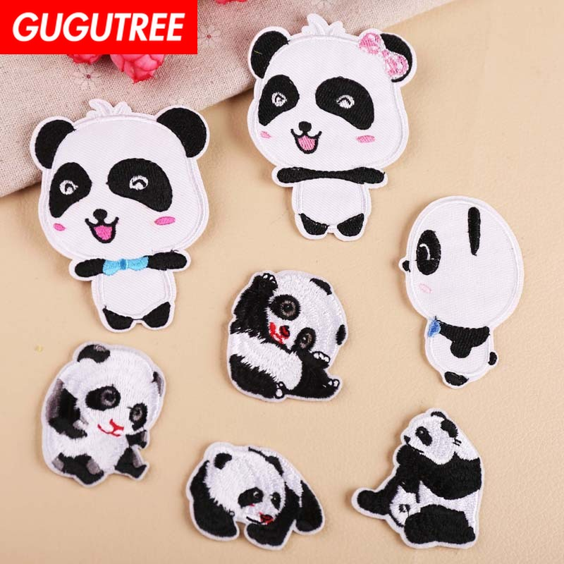 GUGUTREE embroidery panda patches animal patches badges applique patches for clothing YX-169