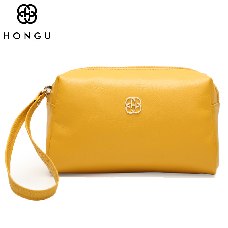 HONGU Top Cow Leather Crossbody Bag Women Handbag Wallet Credit Card Coin Purse Holder Clutches Female Luxury Brand Random Color