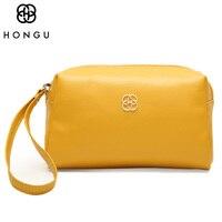 HONGU Top Cow Leather Crossbody Bag Women Handbag Wallet Credit Card Coin Purse Holder Clutches Female Luxury Brand Random Color