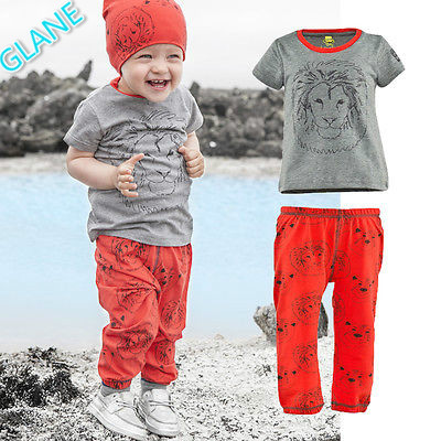 2016 Toddler Boys Girls Baby Clothes Lion Print Tops T-shirt+Pants Outfits Set 2-7Y Children's Clothing Sports Suit Tracksuit