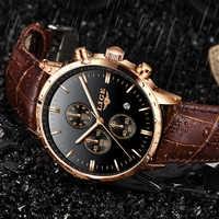 Relojes para hombre 2019 LIGE, reloj de cuarzo de lujo a prueba de agua para hombre, reloj de pulsera de oro de cuero informal para hombre