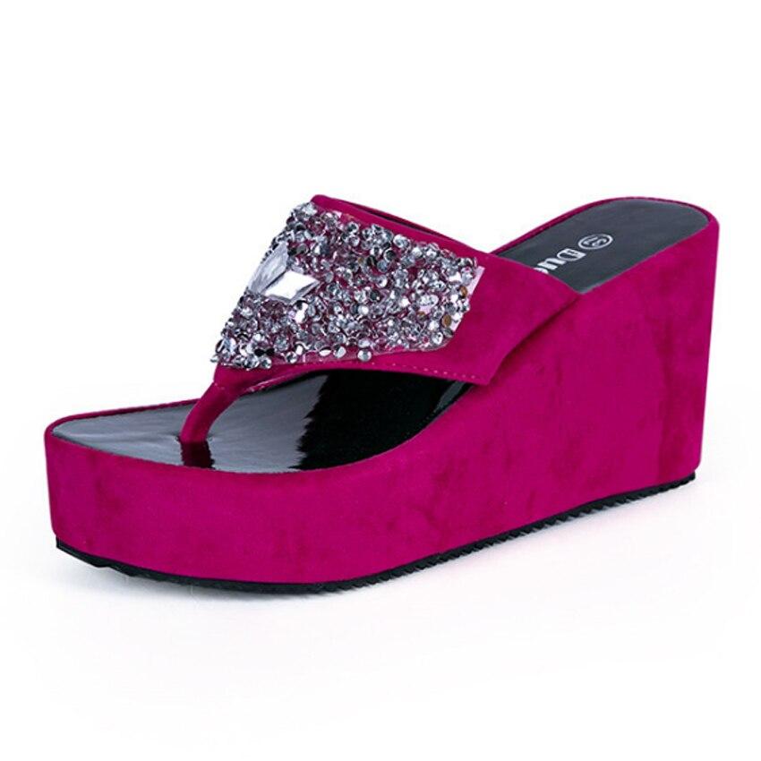 b21fd668f84f KEALUX 2018 Summer Hot Sale Women Slippers Non slip Hard Wearing Rubber  Crystal Solid Outside Flip Flops Wedges -in Flip Flops from Shoes on  Aliexpress.com ...