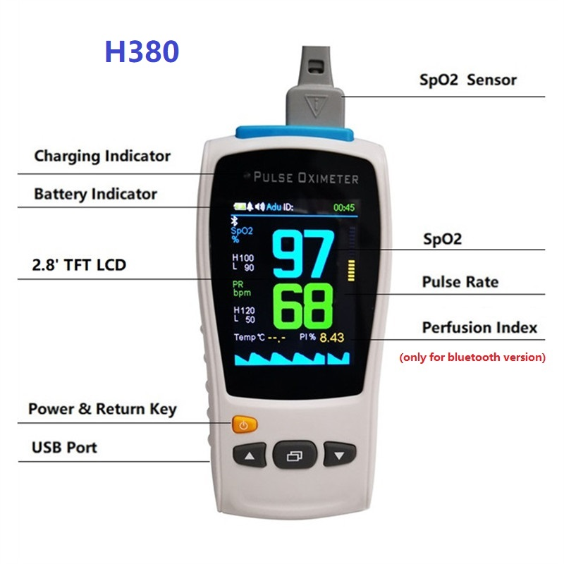"""Image 2 - 2.8""""TFT 1 sensor Neonate child adult handheld pulse Oximeter SPO2 PR Medical Heart Rate monitor compatible Nellcor DS100A Sensor-in Blood Pressure from Beauty & Health"""