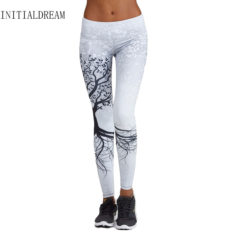 INITIALDREAM women workout   leggings   Tree Pattern Sporting   Leggings   Printed Yuga Pants High Elastic Waist Push Up Fitness leggins