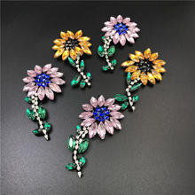 6pc 8x4.5cm Crystal Beaded Sunflower Patch 3d Applique Patches For Clothing Bags Parches Bordados Ropa Accessories DIY AC0868