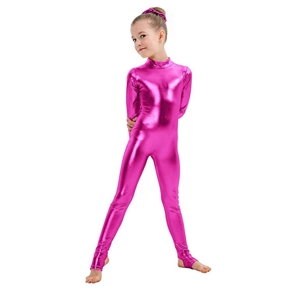 AOYLISEY Kids Long Sleeve Metallic Unitards Stirrups Dance Gymnastics Leotards Girls Shiny Dancewear Stage Performance Show Suit