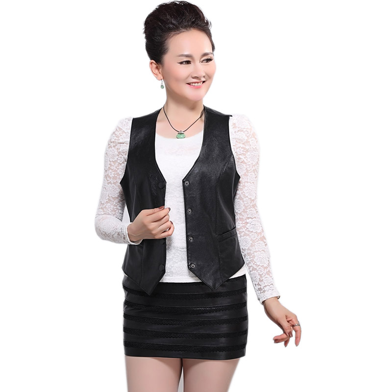 Harppihop Brand Genuine Leather Vest Womens Winter Sleeveless Jackets Warm Waistcoat Sheepskin Black Cotton Padded Suede