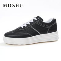 Fashion Causal Women Flat Sneakers Leather Runner Skateboard Platform Shoes Basket Femme