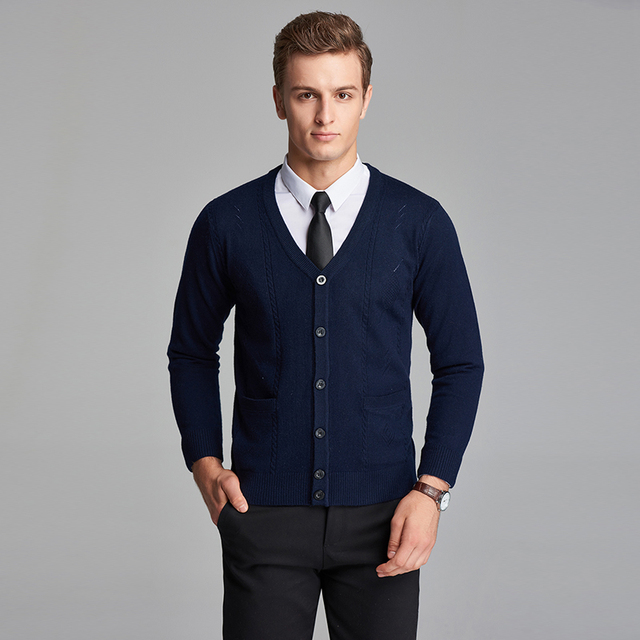 8c2f117c High Qualtiy Autumn Man Business Long Sleeve V Neck Button Down Wool  Sweater Cardigan