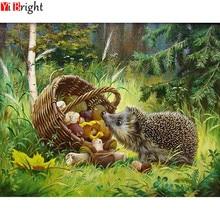 DIY Diamond Embroidery Forest Hedgehog Mushroom Basket Diamo