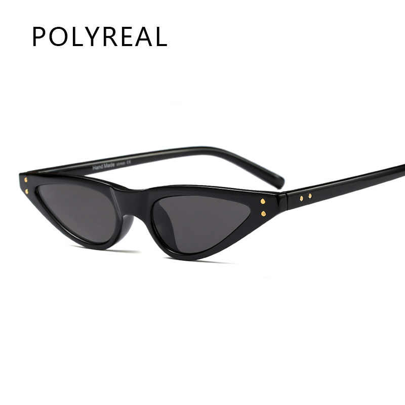 a59cb08ee3 POLYREAL New Small Cat Eye Sunglasses Women Brand Designer Mirror Shades  Female Sexy Fashion Sun Glasses
