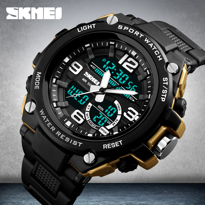 Top Luxury Fashion Sports Watches Men SKMEI Brand Quartz Analog LED Digital Watch Outdoor Waterproof Clock Men Relogio Masculino