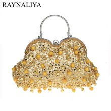 купить Golden Flower Women Black Crystal Evening Purse Bridal Beaded Handbag Wedding Party Prom Clutch Shoulder Bag SFX-A0061 дешево