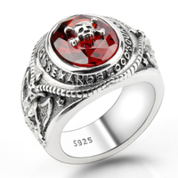 True S925 Sterling Silver Skeleton Skull Men Biker Ring Red CZ and Portrait Meditation Men Vintage Heavy Jewelry