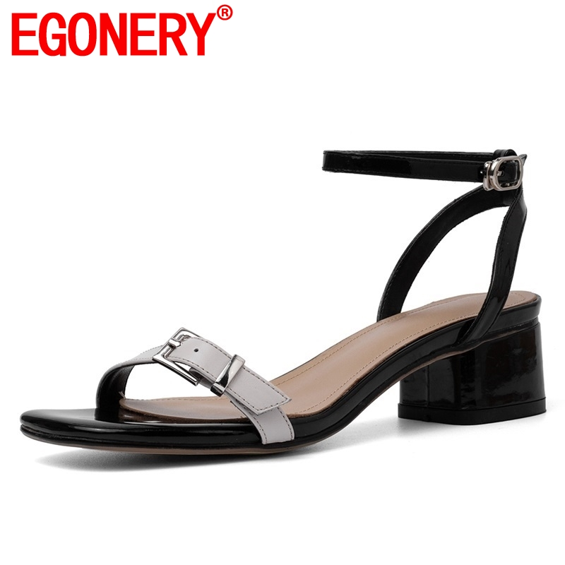 EGONERY shoes woman 2019 summer new concise casual patent leather woman sandals outside med square heels