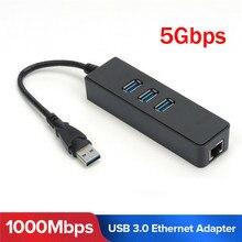3 Ports USB 3.0 Gigabit Ethernet Lan RJ45 Network Adapter Hub to 1000Mbps PC Black 3 Port USB3.0 Ethernet Adapter 3E04 winyao wy576t2 pci e x1 dual port server adapter copper rj45 gigabit 1000mbps ethernet network card for 82576 e1g42et lan