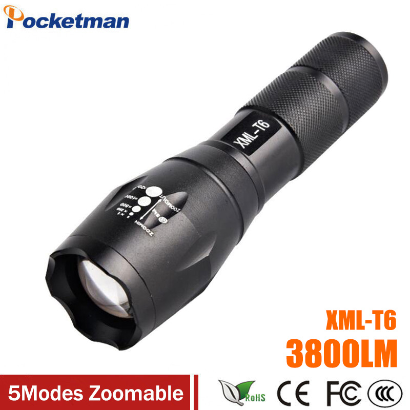 3800lm Flashlight CREE XML-T6 LED Torch Torch Zoomable 5Modes Waterproof lanterna led zaklamp lampe torche