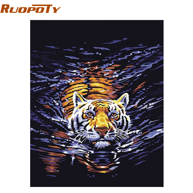 RUOPOTU Water Tiger Animals DIY Digital Oil Painting By Numbers Painted Canvas Painting For Frame Gift Room DIY frame 4050