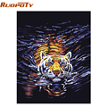 RUOPOTU Water Tiger Animals DIY Digital Oil Painting By Numbers Handpainted Canvas Painting For Unique Gift Room diy frame 4050