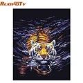 RUOPOTU agua Tigre animales DIY pintura al óleo Digital por números pintado a mano lienzo pintura para habitación de regalo único diy marco 4050