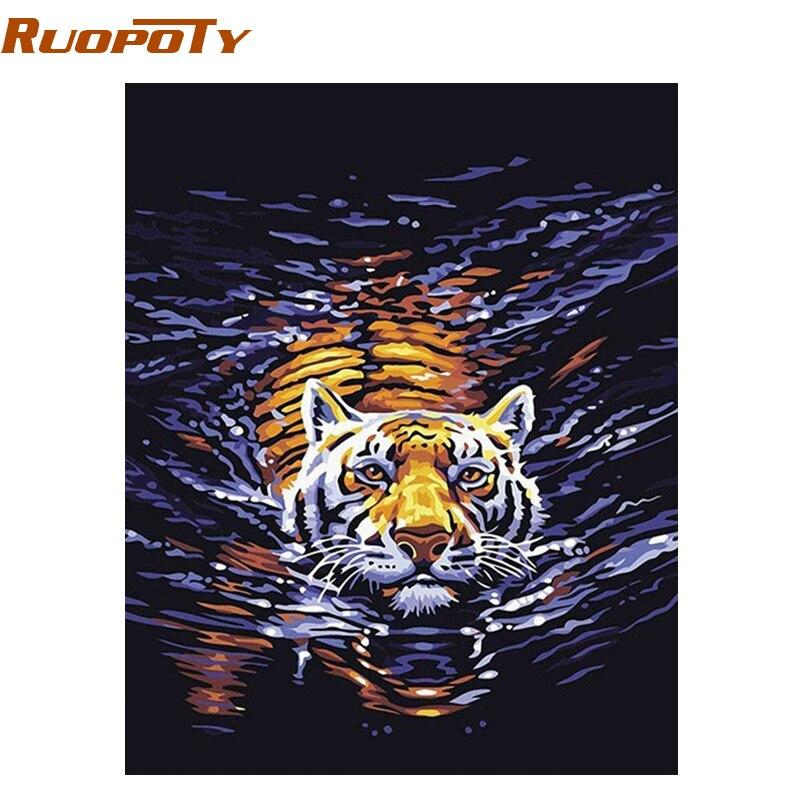 RUOPOTU agua Tigre animales DIY pintura al óleo Digital por números pintado a mano pintura de la lona para el regalo único diy marco 4050