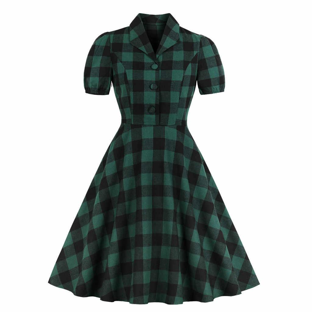 Feitong 2019 Платье Женское Vestidos Verano модное женское платье с отложным воротником и коротким рукавом в клетку с принтом на пуговицах