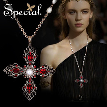 Special New Fashion Gold-plated Maxi Necklaces & Pendants Cross Natural Pearl Vintage Statement Jewelry Gifts for Women S1605N цены онлайн