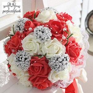 Image 3 - Ручной Букет невесты perfectlifeoh, свадебный букет ручной работы, имитация цветов, шарики, свадебные цветы для фотографии