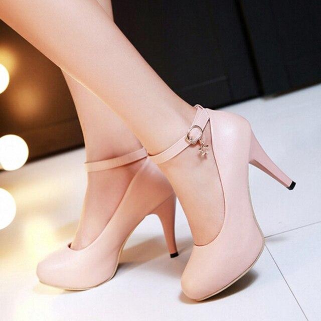 Лодыжки Wrap Ремень Кожа Лаванды Стилет Высокие Каблуки Обуви Плюс размер Женщина Менее Платформа Насосы Небольшой 34 Pu Одноместный Платье очарование