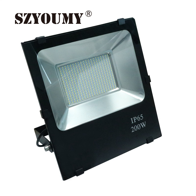 SZYOUMY Ultrathin SMD LED Flood Light SMD2835 200W Black AC85-265V Waterproof IP66 Floodlight Spotlight Outdoor Lighting ultrathin led flood light 100w led floodlight ip65 waterproof ac85v 265v warm cold white led spotlight outdoor lighting