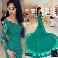 043432623 New Arrivals Green Lace appliques long sleeve modest prom Dress real  picture Elegant V-Neck