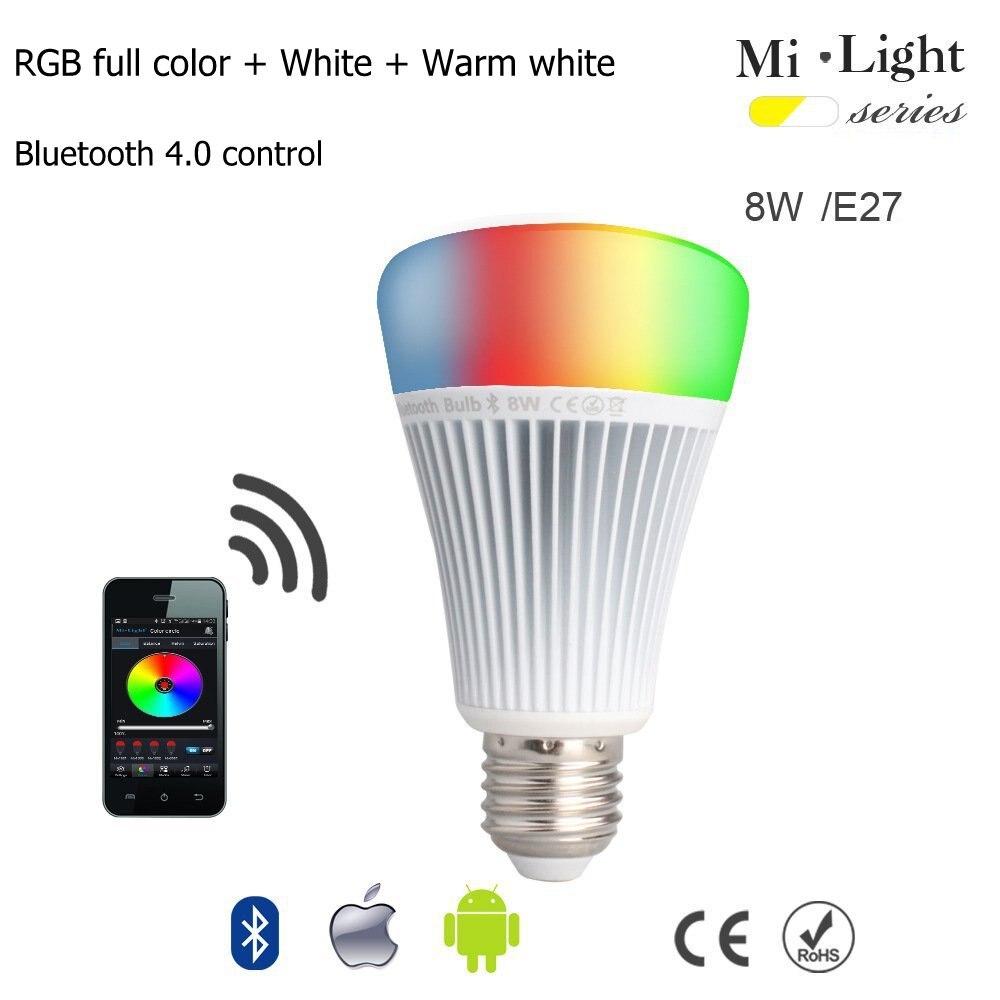 Milight E27 8 W Bluetooth 4.0 lumière LED RGB + contrôle de température de couleur avec lampe romantique à distance Samrtphone