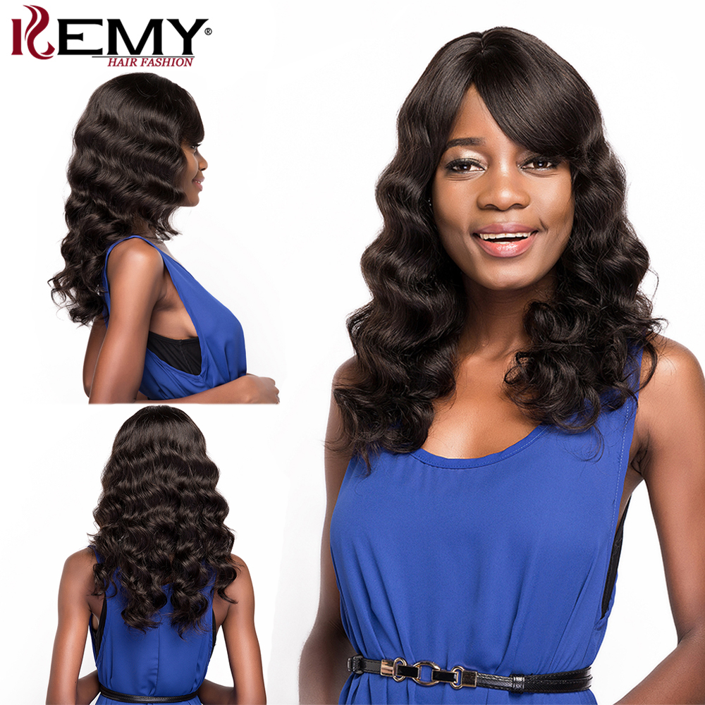 Brazilian Long Human Hair Wigs With Bangs KEMY HAIR Loose Wave Remy Human Hair Wigs For Black Women Natural Color  150% Density