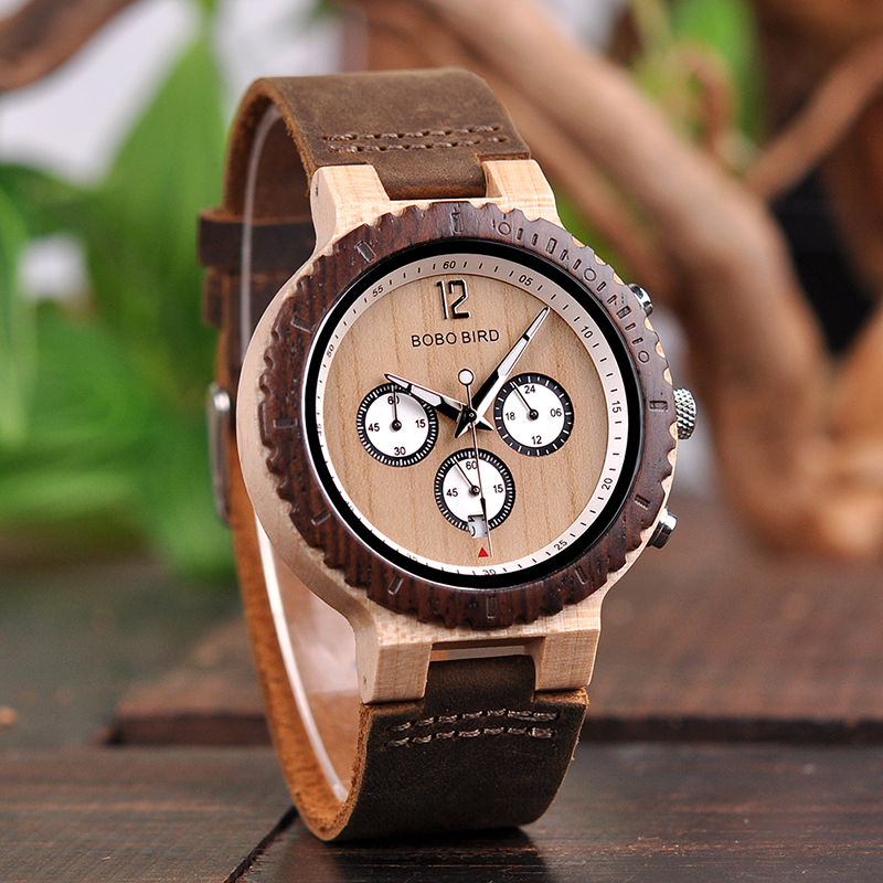 BOBO BIRD Men's Bright Color Combination Wooden Chronograph Watch 26