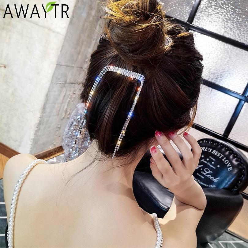 AWAYTR Crystal Tassel Barrettes Girl Hair Clips Heandbands Gold Sliver Hairpins Female Hairgrips Women For Hair Accessories