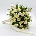 2017 Ramo de Novia de flores hechas a mano de Marfil Rose Ramo de novia Ramo de flores de La Boda de dama de Honor para el banquete de boda