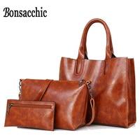 Bonsacchic Oil Wax Leather Handbag Women Bags Fashion Handbags 2017 Casual Tote Bag Set Women Messenger