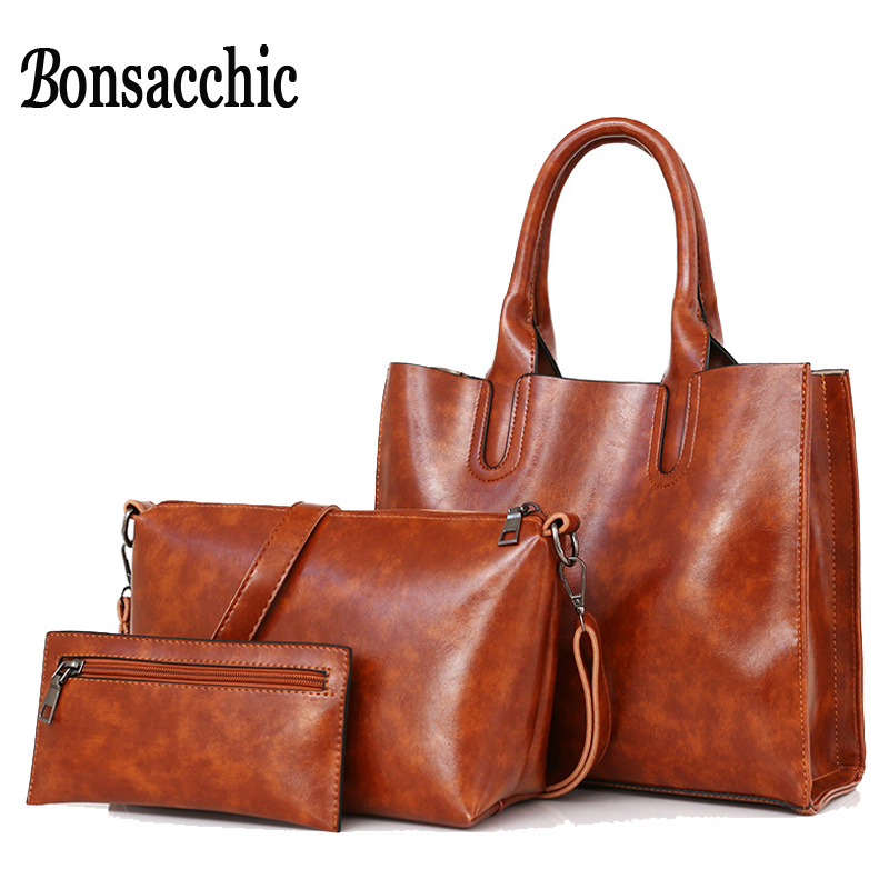 Bonsacchic 3pcs Leather Bags Handbags Women Famous Brand Shoulder Bag Female Casual Tote Women Messenger Bag Set Bolsas Feminina luxury famous brand women female ladies casual bags leather hello kitty handbags shoulder tote bag bolsas femininas couro