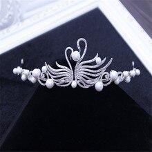 2017 new elegant full crystal beads pearl decorated bridal tiaras hair accessories wedding crown bride hair