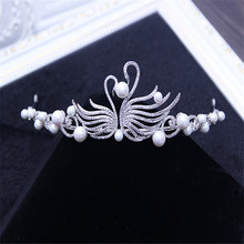 2017 new elegant full crystal beads pearl decorated bridal tiaras hair accessories wedding crown bride hair accessories cr37