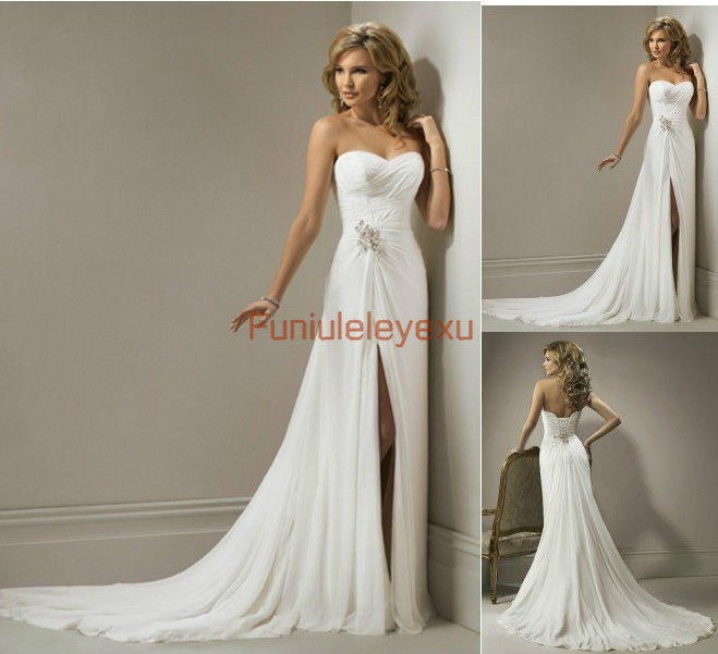 free shipping sheath strapless side slit chapel train chiffon famous designer bridal gown wedding dresses custom wholesale price