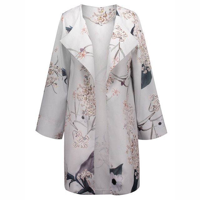 241d682e61c Maxi Coat Women Patchwork Print Wrapped Summer Thin Fashion Gray Jackets  Girls Floral Long Sleeve Female
