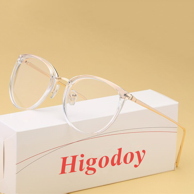 Higodoy metal glasses frame progress retro ladies trend optical glasses transparent lenses men prescription glasses