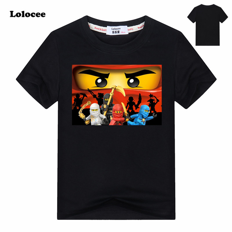 2017 Summer Kids Boys T-shirt Ninja Ninjago T Shirts Children Clothing Cotton Top Tees Boys Girls Cartoon Costume 3-13y цена и фото