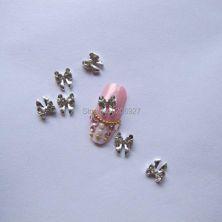 MD-232 10pcs Fancy Crystal Rhinestone Silver Bow Deco Metal Charms Metal Deco Charms Nail Art