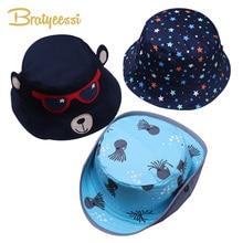 Cartoon Baby Hat Summer Autumn Cotton Sun Unisex Spring Bucket Cap Kids Accessories Children Hats for Girls Boys 1 PC