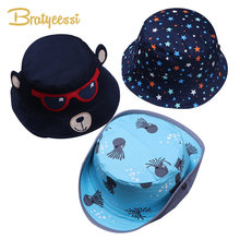 Cartoon Baby Hat Summer Autumn Cotton Baby Sun Hat Unisex Spring Bucket Cap Kids Accessories Children Hats for Girls Boys 1 PC(China)