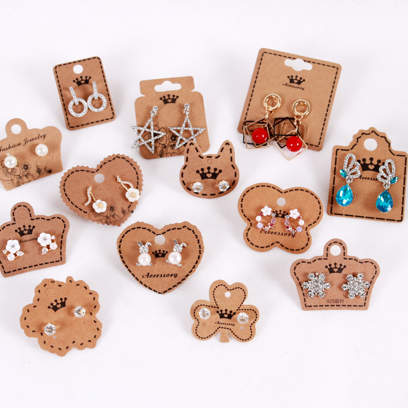 100pcs/lot Kraft Paper Earring Cards In Jewelry Packaging & Display Square Cat Heart Crown Shape Jewellery Gift Shop Tags Cards