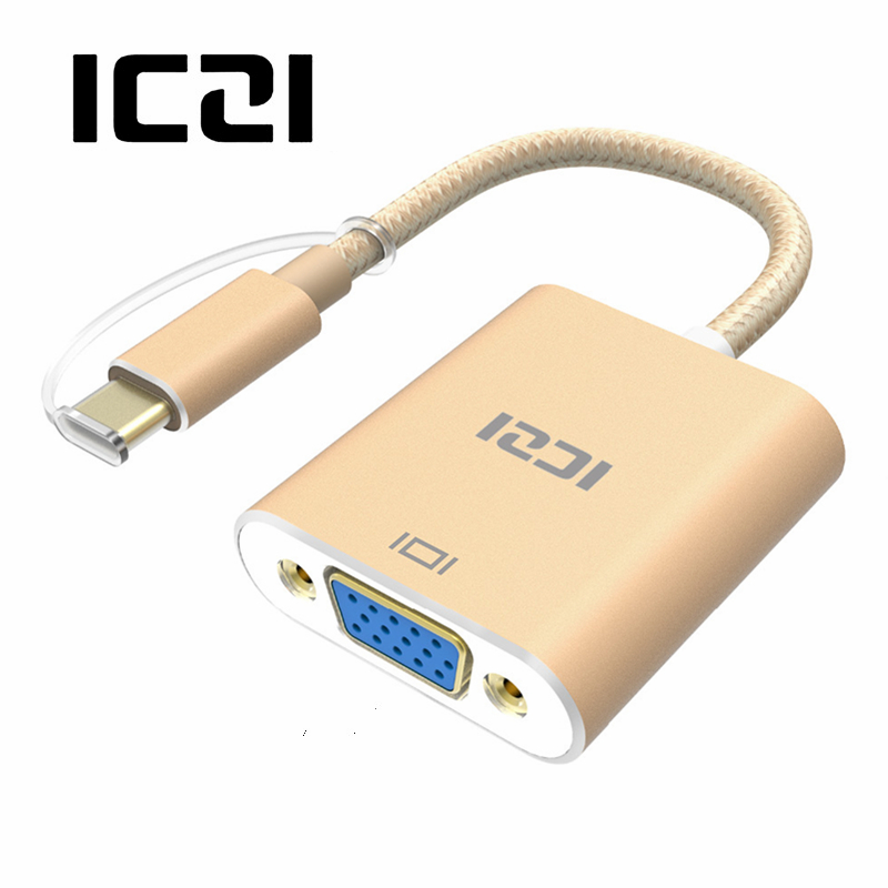 ICZI USB C Type C (USB 3.1 & Thunderbolt 3 Port Compatible) to VGA Adapter 1080P Aluminum Body Cable for Lenovo Yoga MacBook Pro