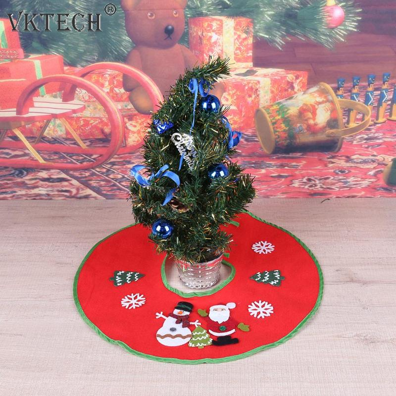 Red Christmas Tree Skirt New Year Home Decoration Round Christmas Tree Skirts Christmas ...